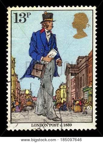 UNITED KINGDOM - CIRCA 1979: A stamp printed in Great Britain shows london postman, London post 1839, series Sir Rowland Hill, death centenary, circa 1979