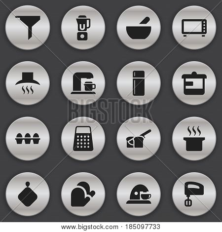 Set Of 16 Editable Food Icons. Includes Symbols Such As Bakery, Kitchen Glove, Soup Pot And More. Can Be Used For Web, Mobile, UI And Infographic Design.