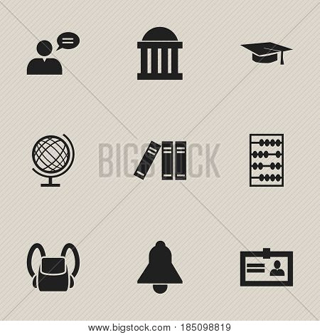 Set Of 9 Editable University Icons. Includes Symbols Such As Certification, Thinking Man, Earth Planet And More. Can Be Used For Web, Mobile, UI And Infographic Design.