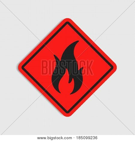 Hazard warning sign. Flammeble. Fire in red rhombus icon.