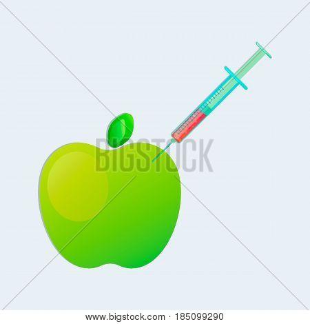 Genetic engineering. GMO. Green apple with syringe