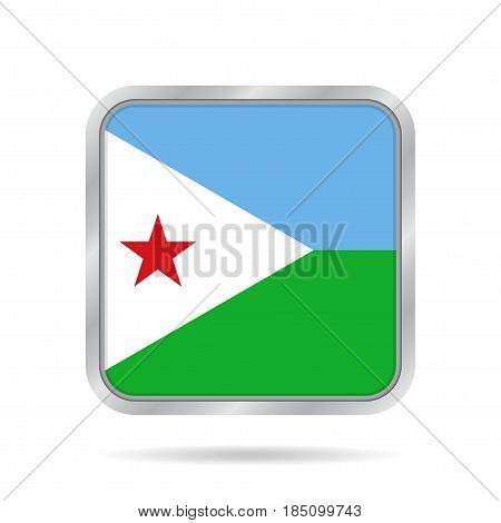 National flag of Djibouti. Shiny metallic gray square button with shadow.