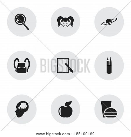 Set Of 9 Editable Graduation Icons. Includes Symbols Such As Notepaper, Fresh Fruit, Creative Idea And More. Can Be Used For Web, Mobile, UI And Infographic Design.