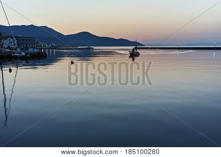 Sunset view on embankment in Thassos town, East Macedonia and Thrace, Greece