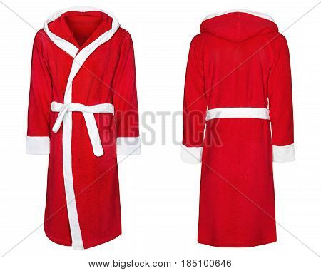 Red bathrobe for home, isolated white background