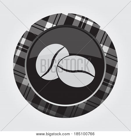 black isolated button with gray black and white tartan pattern on the border - light gray two coffee beans icon in front of a gray background