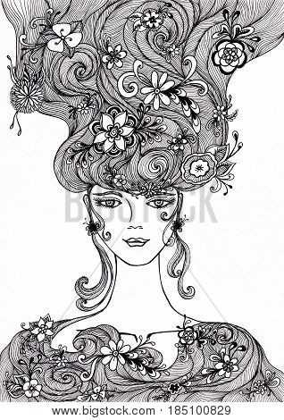 Beautiful Girl with flowers in hair  Authentic handmade graphic  Zen-doodle style for coloring