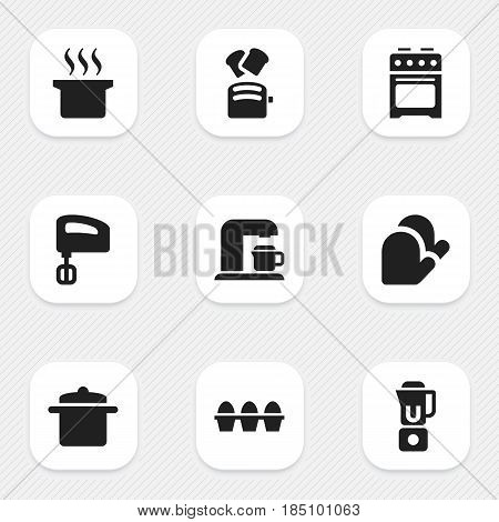 Set Of 9 Editable Meal Icons. Includes Symbols Such As Hand Mixer, Cookware, Agitator. Can Be Used For Web, Mobile, UI And Infographic Design.