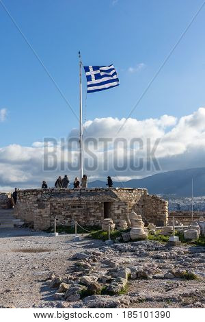ATHENS, GREECE - JANUARY 20 2017:  Amazing view of the Acropolis of Athens, Attica, Greece