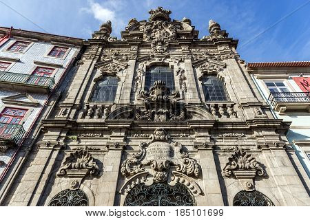 Frontage of Mercy of Porto Church in Porto city Portugal