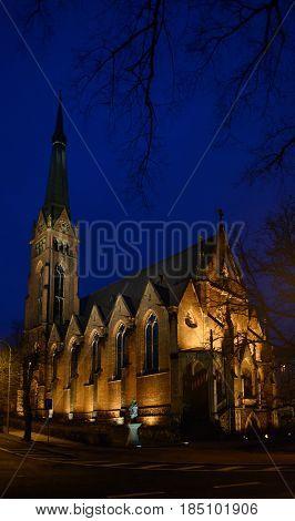 St. Elizabeth Church Is In The Night Lighting, Teplice, Czech.