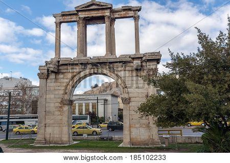 ATHENS, GREECE - JANUARY 20 2017:  Amazing view of Arch of Hadrian in Athens, Attica, Greece