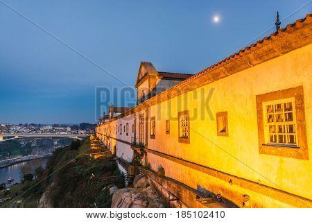 Night view of Serra do Pilar Monastery in Porto Portugal