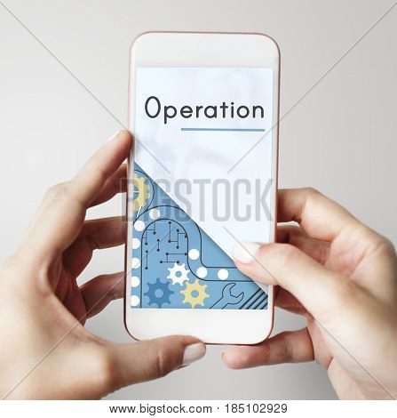 Hands holding smart phone for using and connecting with operation word