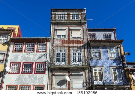 Tenement houses on Ribeira Square in Porto city on Iberian Peninsula second largest city in Portugal