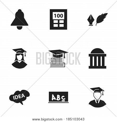 Set Of 9 Editable Graduation Icons. Includes Symbols Such As Graduated Female, Diplomaed Male, Literature And More. Can Be Used For Web, Mobile, UI And Infographic Design.