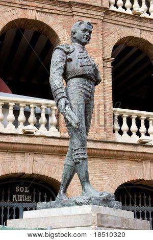 A Matador Statue outside the Bull Ring in Valencia, Spain