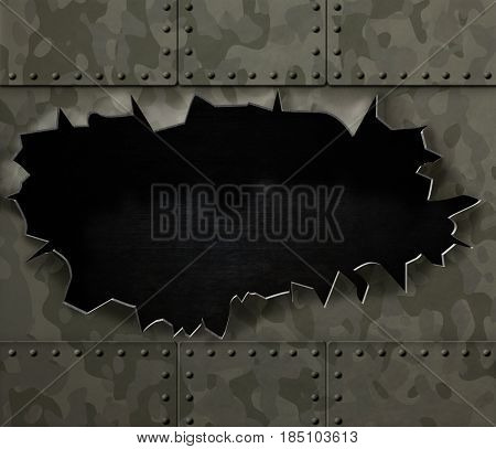 big hole in metal camouflage background 3d illustration