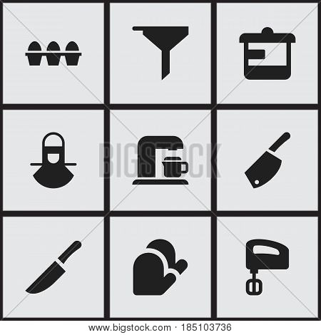 Set Of 9 Editable Cooking Icons. Includes Symbols Such As Egg Carton, Backsword, Agitator And More. Can Be Used For Web, Mobile, UI And Infographic Design.