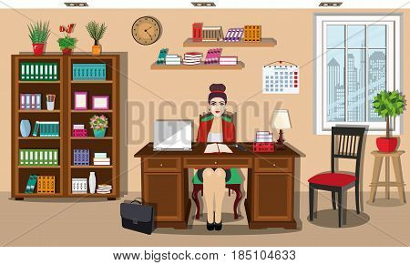 Workday and workplace concept. Beautiful young business women sitting on chair in office. Vector illustration.