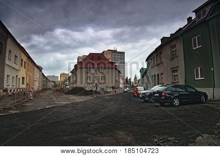 Chomutov, Horni Ves, Czech Republic - April 22, 2017: Intersection Of Streets Rooseveltova And Safar