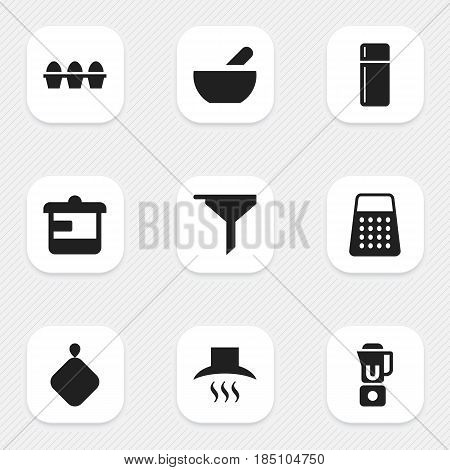 Set Of 9 Editable Cooking Icons. Includes Symbols Such As Soup, Filtering, Kitchen Hood And More. Can Be Used For Web, Mobile, UI And Infographic Design.