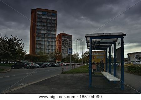 Chomutov, Horni Ves, Czech Republic - April 22, 2017: Bezrucova Street With Bus Station On Foregroun