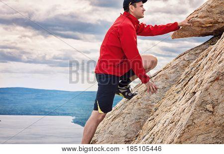 Happy man mountaineering national park Zuratkul Chelyabinsk Russia