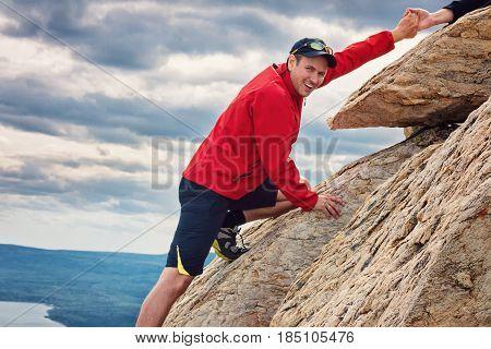 Happy Man Mountaineering National Park Zuratkul Chelyabinsk Russia.