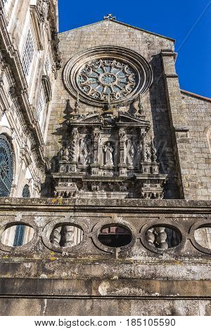 Frontage of Gothic style Saint Francis Church in Porto city Portugal