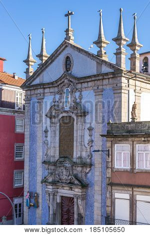 Azulejo tiles frontage of Saint Nicholas Church in Porto Portugal