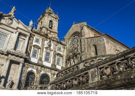 Saint Francis church (on right) and Third Order of St. Francis church in Porto city Portugal