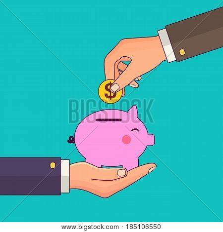 Vector modern flat illustration on hand putting coin into the money box. Happy piggy bank receiving a coin. Savings concept illustration