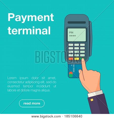 Vector illustration of businessman's hand entering pin code on credit card, POS or a PDQ terminal in flat style for your design