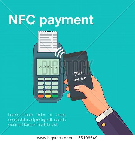 Mobile payments with smartphone. Near field communication payment terminal concept. Online transactions, paypass and NFC. Cartoon flat style vector illustration