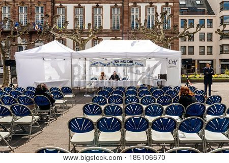 STRASBOURG FRANCE - APR 23 2017: Yom Hashoah with Jewish rabbi at the public reading of names of the victims of the Holocaust deported from Alsace - Holocaust Remembrance Day