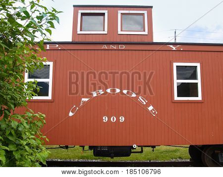 Skagway, Alaska - July 310, 2008; Caboose number 909 original crew accommodation on train  in Alaska named numbered and parked in Skagway.