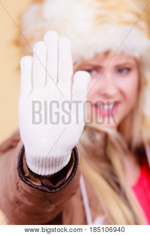 Woman In Winter Hat And Gloves