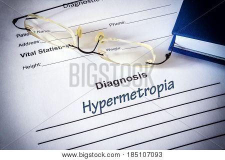 Diagnosis list with hypermetropia. Eye disorder concept.
