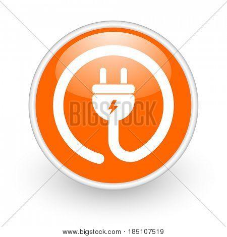 Electric plug modern design glossy orange web icon on white background.