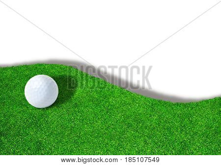 3D rendering of golf ball on edge of green on white background with copy space.