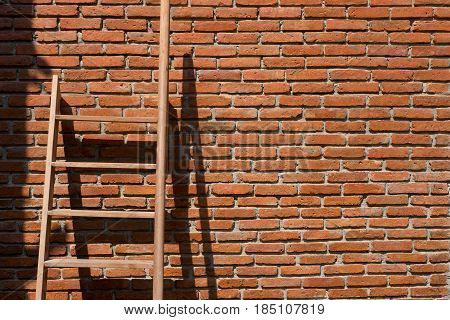 Wooden Stairs Leaning Red Brick Wall Background