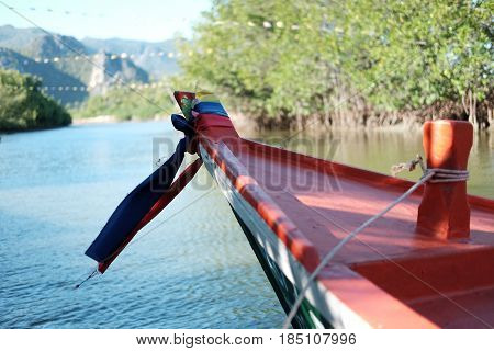 Front View Of Wooden Boat Anchor On Sea Around This Place Be Filled Of Mangrove Forest Background, T