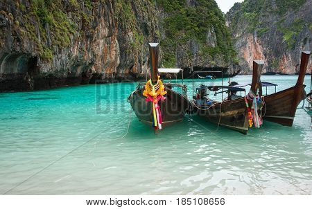 Image of Long tail boats Muslim village Thailand