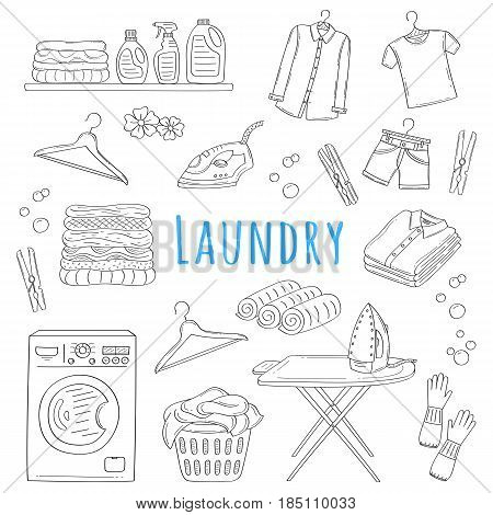 Laundry service hand drawn doodle icons set, vector illustration. Washing, drying and ironing symbols, washing machine, laundry basket, clothes, iron, ironing board, hanger, folded shirts, clothespin.