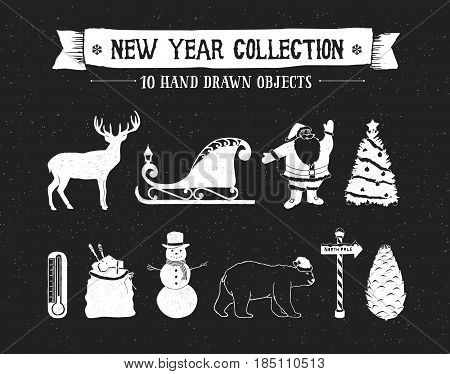 Hand drawn textured New Year icons set with deer Santa's sleigh Santa Claus Christmas tree snowman bag of gifts polar bear and pine cone vector illustrations.