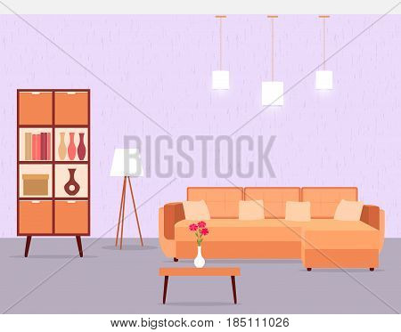 Living room interior including sofa table cabinet and floor lamp. Vector illustration in flat style