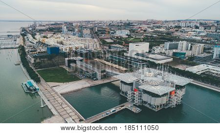 LISBON - February 10th: Lisbon Oceanarium on February 10th 2017 is located in the Park of the Nations in the Expo district of Lisbon. It is the largest indoor aquarium in Europe. Aerial perspective