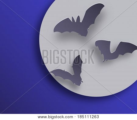 Bats flock in paper art style on night moon background. Flying bats silhouettes with shadows. Vector illustration.