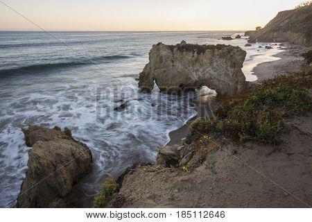 Dusk at El Matador State Beach in Malibu California.